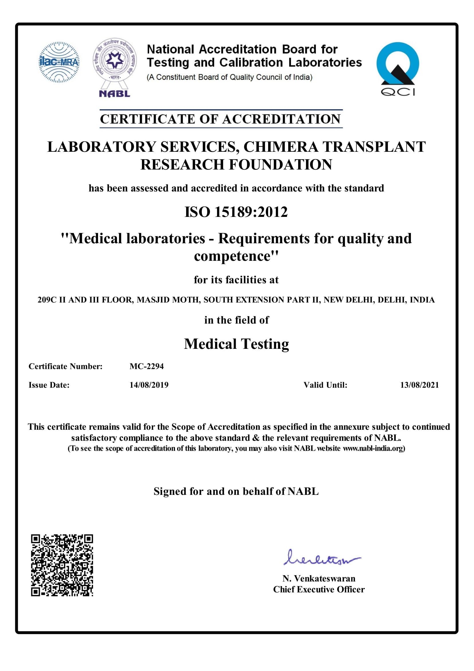 Certificate MC 2294